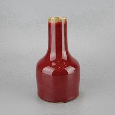 Chinese Mallet Form Sang de Boeuf Porcelain Vase