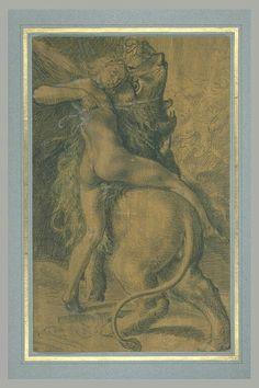 école de  ALLEGRI Antonio Ecole lombarde Jeune homme ailé maitrisant un lion