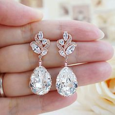Luxury Cubic Zirconia floral ear posts with Swarovski Crystal dangle earrings from EarringsNation