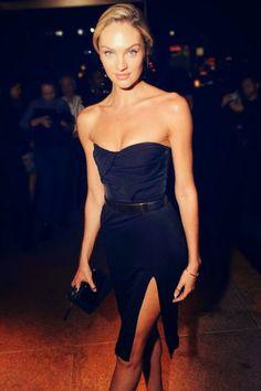 Candice swanepoel in black dress