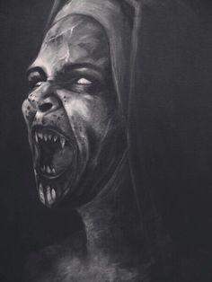 Charcoal Drawing Realistic A vampire nun perhaps Horror Art, Horror Movies, Dark Fantasy, Fantasy Art, Mago Tattoo, Portraits Illustrés, Totenkopf Tattoos, Dark Artwork, Vampire Art