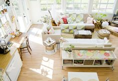 table behind the sofa - love the natural light in this room