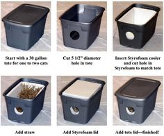 Make an outdoor cat shelter for stray cats in your neighborhood! More info: http://www.indyferal.org/Literature/out_cat_shelter.pdf