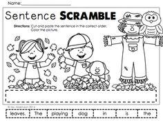 October Printables - First Grade  Sentence Scramble