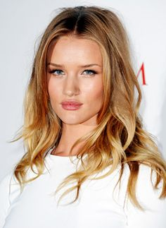 #Want this long hairstyle - the 'undone' waves, the ombre / balayage. Very jealous, Rosie Huntington-Whiteley.