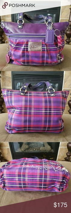 Coach poppy plaid tote Purple plaid purse with zipper. In excellent condition, the handles have slight dirt (pictured). Coach Bags Totes