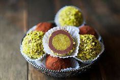 amazing, sweet homemade pistachio paste covered in almond scented dark chocolate ganche Pistachio Paste Recipe, Pistachio Butter, Pistachio Recipes, Truffle Butter, Truffle Recipe, Pistachio Cheesecake, Pistachio Dessert, Cheesecake Recipes, Candy Recipes