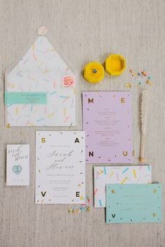 Confetti all over your stationery means you're ready to party. Get guests in on the fun without wasting another minute by sending save-the-dates in vellum envelopes that show off the contents.Nimble Nib Co.took it one step further with foil, too. The pros mixed candy-colored details with gold accents before sending them in the translucent envelopes. Wedding Invitation Wording, Invitation Design, Invitation Cards, Wedding Paper, Our Wedding, Formal Wedding, Spring Wedding, Elegant Wedding, Rustic Wedding