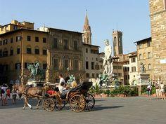 Piazza della Signoria - Firenze Wonderful Places, Street View, Italy, Italia
