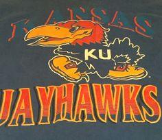 Vintage Kansas Jayhawks Blue Large Short Sleeve Tee T-Shirt Made In USA H1 #Jostens #KansasJayhawks