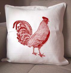 Red Rooster Pillow zen threads