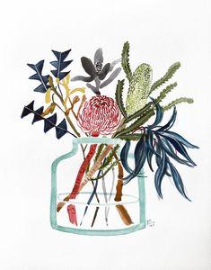 Natives in Glass Vase by Sally Browne Botanical Drawings, Botanical Art, Botanical Illustration, Watercolor Illustration, Watercolor Paintings, Watercolours, Australian Native Flowers, Australian Art, Inspiration Art