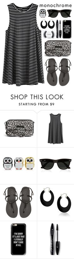 """""""monochrome"""" by lgb321 ❤ liked on Polyvore featuring Vera Bradley, Forever 21, Ray-Ban, Havaianas, Bling Jewelry, Casetify, Lancôme, MAC Cosmetics, monochrome and fashionset"""
