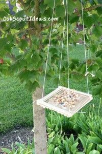 Craft Stick bird feeder for kids to make.  Great Cub Scout activity