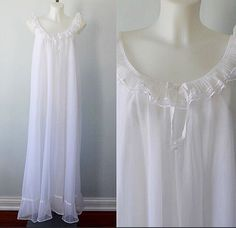 A personal favorite from my Etsy shop https://www.etsy.com/ca/listing/271060222/vintage-white-chiffon-nightgown-white
