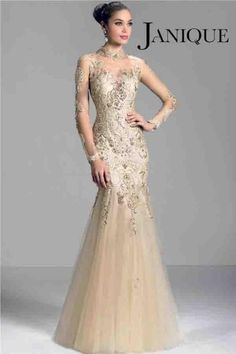 2015 Elegant Champagne Mother of the Bride Dresses Long Sleeve Sheer High Neck Mother's Dresses Lace Applique Beads Mermaid Prom Evening for Online with $120.16/Piece on Hjklp88's Store