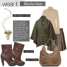 Here is an example of a great sweater look.  These boots CAN be worn with a short skirt.  BELTS are in TOO!