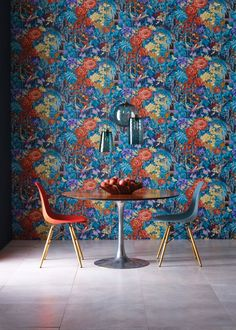 Navy Mughal Garden Wallpaper - Wallpaper - Matthew Williamson. A high impact, statement wallpaper - this is full of exotic energy. The colourful print features a tiger and hummingbird camouflaged amidst dense foliage in a Mughal garden palace. Printed on an easy-to-hang non-woven base.