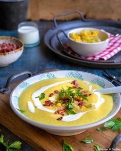 Velouté de maïs aux pommes de terre et piment d'Espelette