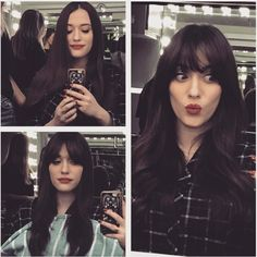 """Kat Dennings Just Got the PERFECT Set of Bangs # Hairstyles with bangs Rowan Blanchard Just Got """"Baby Bangs"""" and I'm Obsessed Brunette Pony, Brunette Bangs, Brunette Fringe, Long Hair With Bangs, Long Wavy Hair, Dark Hair, Thick Hair Bangs, Kat Dennings, Girls Short Haircuts"""