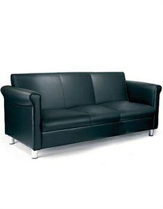 Vintage Style Reception Sofa In Black Leather. Sofa Italia, Reception Furniture, Italian Sofa, Retro Sofa, Pink Sofa, Three Seater Sofa, Black Sofa, Classic Sofa, Luxury Sofa
