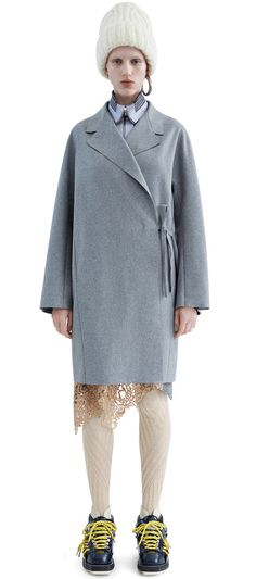Ember wool blend flannel coat in light grey melange #AcneStudios #PF15