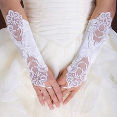 White Fingerless Lace Pearls Wedding Gloves with Pearl G7 (Ship From USA)   - Click image twice for more info - See a larger selection of Wedding Gloves at http://zweddingsupply.com/product-category/wedding-gloves/ - woman, wedding fashion, wedding style, wedding ideas, bride.
