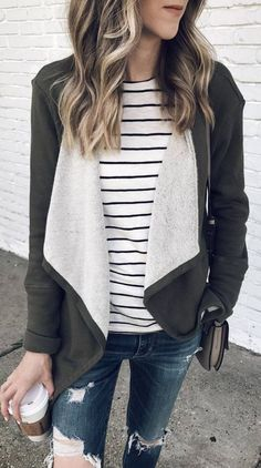Outfit Of The Day Jacket Plus Stripped Top Plus Rips