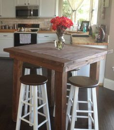 "I had absolutely nothing in our ""kitchen nook"" area and the space seemed perfect for a high top pub table. I used Ana White's plans for inspiration. I really liked how farmhouse-ish it was and it..."