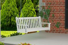 #AmericanMade outdoor furniture created with recycled plastic lumber. This Polywood outdoor swing bench would be a cozy addition to your porch.