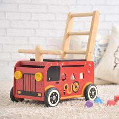 【あす楽】1台4役の手押し車|誕生日プレゼント#。【I'm TOYアイムトイの知育玩具】ウォーカー&ライド消防車(木のおもちゃ 木製 出産祝い 誕生日プレゼント 手押し車 型はめパズル 1歳半 2歳児 男の子 女の子 積み木 ベビーウォーカー ベビー 赤ちゃん 一歳 足けり 乗用玩具 乗り物 オモチャ つみき 室内 乗れる)