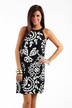 """It's A Dream Dress, Ivory/Blk $42.00 WOW we couldn't believe our eyes when we pulled this baby out of the box! You will see a ton of black and white this season. Thanks to the gorgeous print, this one only looks expensive ;))   Fits true to size. Miranda is wearing the small.    from the shoulder to the hem:  S-33""""  M-34""""  L-34.5"""""""