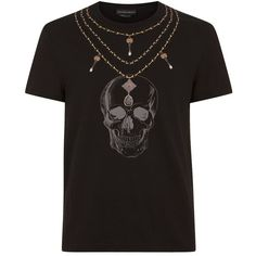 Alexander McQueen Skull Necklace T-Shirt ($290) ❤ liked on Polyvore featuring men's fashion, men's clothing, men's shirts, men's t-shirts, alexander mcqueen men's t shirt, mens distressed t shirt, alexander mcqueen mens shirt, mens skull shirts and mens distressed shirt