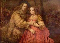 Rembrandt Harmensz. van Rijn.  Die Judenbraut (Das Brautpaar). Um 1666, Öl auf Leinwand, 121,5 × 166,5 cm. Amsterdam, Rijksmuseum. Doppelporträt eines Paares, Rollenporträt. Niederlande (Holland). Barock.  KO 00730