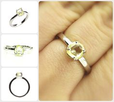 A Modern natural raw diamond ring