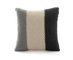 Housse de coussin POINT MOUSSE coton, gris et ivoire - 40*40