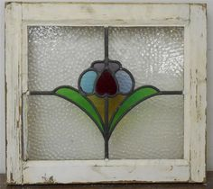 """OLD ENGLISH LEADED STAINED GLASS WINDOW Colorful Flower 20"""" x 18"""""""