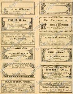 Vintage Antique Medicine Druggist Pharmacy Labels Digital Collage Sheets