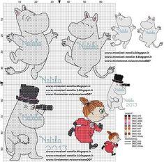 Knitting Charts Moomin New Ideas Beaded Cross Stitch, Cross Stitch Baby, Cross Stitch Animals, Cross Stitch Charts, Cross Stitch Patterns, Knitting Charts, Knitting Patterns Free, Diy Embroidery, Cross Stitch Embroidery