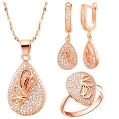 >> Click to Buy << Heart Rose Gold Color Wedding Jewelry Sets Women Fashion Set  With AAA Zircon Butterfly Necklace and Earring Ring For Women #Affiliate