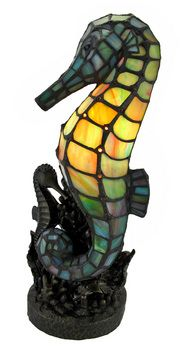 Tiffany Style Colored Glass Seahorse  Lamp