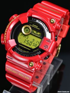 CASIO G-SHOCK 30th Ltd Rising RED GF-8230A-4JR 30周年記念限定 ライジングレッド フロッグマン Casio Frogman, G Shock Frogman, G Shock Men, Solar Watch, Casio G Shock, Casual Watches, Leather Watch Bands, Casio Watch, Collaboration