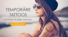 temporäre Tattoos mit individuellen Motiven drucken lassen #printtattoo Print Tattoos, Mirrored Sunglasses, Fashion, Top, Printing, Projects, Moda, La Mode, Fasion