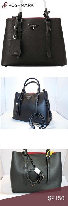 Spotted while shopping on Poshmark: Saffiano Cuir Double Bag Shopper Nero / Fucco New! #poshmark #fashion #shopping #style #Prada #Handbags