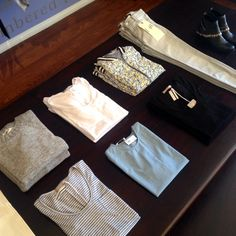 New Summer Table Layout! #newarrivals #summer14 #stripes #floral #alexxjaeandmilk #jbrandjeans #equipment #fredasalvador