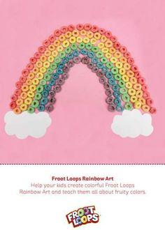 Froot Loops Rainbow Art – Ayuda a que tu hijo practique la diferenciación de colores creando un arcoíris de Froot Loops sobre una cartulina.