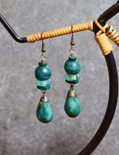Dark Turquoise Drop Earrings, Tribal Earrings, African Jewelry, Boho Earrings, Green Glass Beaded Dangle Earrings, Ceramic Artisan Jewelry