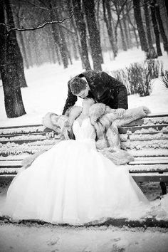 Winter Weddings are so magical, love this bride and groom pic in the snow | My Big Day Events | http://www.mybigdaycompany.com/weddings.html