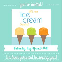 Retro ice cream social invitations
