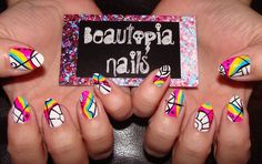 """""""Prismadness""""...lots of colors + black & white. Minus the pointy nail tips."""